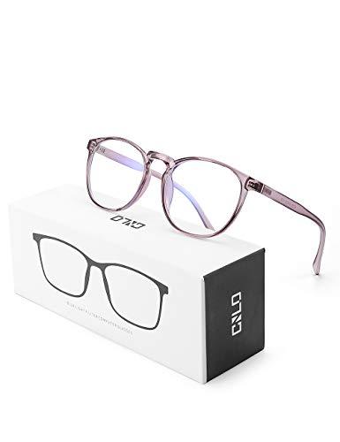 CNLO Blue Light Blocking Glasses,Computer Glasses,Radiation Protection Gaming Glasses, for UV Protection, Anti Eyestrain,Lens Lightweight Frame Eyewear,Men/Women(Tranparent Pink)