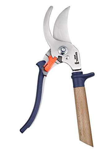 Opinel Hand Pruning Shears with non-slip beech wood handle perfect for bypass trimmers, garden, hedge, lawn clippers or hand scissors with stainless steel blade (Blue)