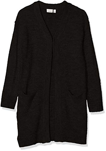 NAME IT Mädchen NKFVAFIA LS Long Knit Card NOOS Strickjacke, Schwarz (Schwarz Black), 116