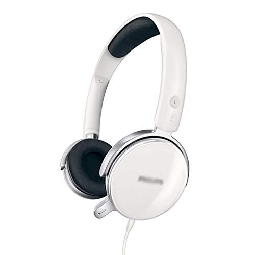 Binn Auriculares de Música sobre Oreja Auriculares de Juegos Cancelación de Ruido Cancelación Mic Soute Ormpulos Auriculares con Cabilidad Compatible con PC Laptop Headphones (Color : White)