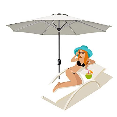 2.7m/8.85ft Patio Umbrella, Outdoor Parasol, Garden Umbrellas, Market Table Sunbrella, with Tilt Button and Hand Crank, Red, White, Green, Black