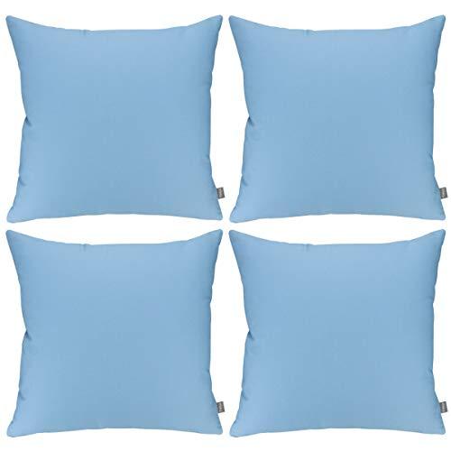 Confezione da 4 federe decorative in cotone, per cuscini quadrati in tinta unita, per decorare la casa, il divano (solo federa, senza inserto) (50 x 50 cm, azzurro)