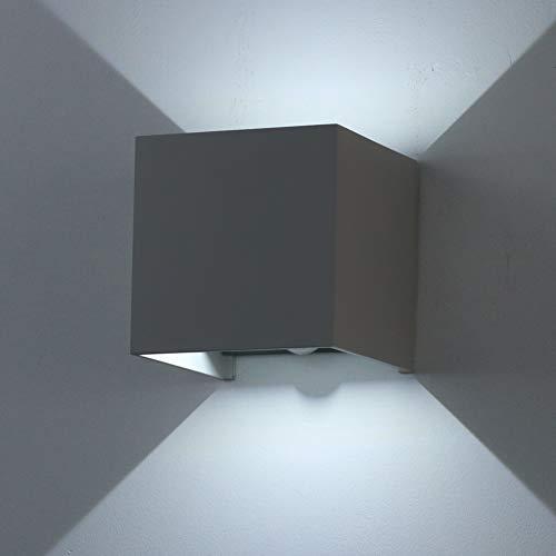 Klighten Applique murale 12W avec détecteur de mouvement, faisceau de lumière réglable IP65 6000K applique murale blanc froid à l'extérieur pour couloir de cage d'escalier, gris foncé
