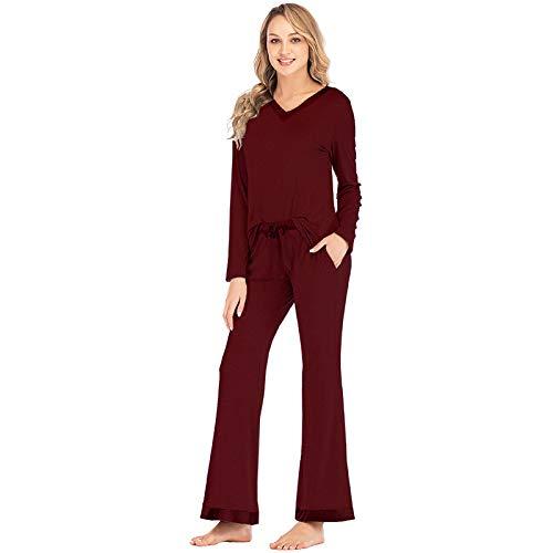 Pijamas Mujer Camisón Traje De Mujer De Dos Piezas Modal Chaleco De Manga Larga para El Ocio Ropa De Hogar Conjuntos De Ropa De Dormir De Mujer Primavera Verano Otoño Homewear XL Borgoña Pijamas