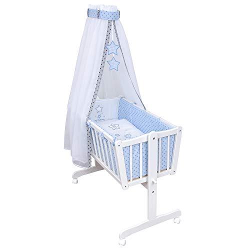 Baby Delux Wiegenset Bettwäsche Set 6-tlg Wiegengarnitur für Babywiege Ausstattung 40x90 Magic Stars blau