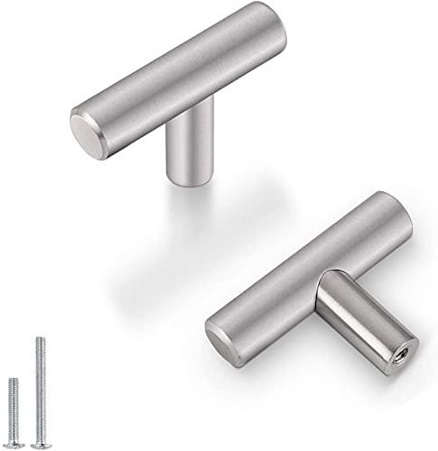 20 pomelli per mobili in acciaio inox color argento caldo, foro singolo per porta, armadio LS201BSS Modern