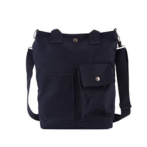 CAVIVIVIUK - Bolso de lona con cremallera y bolsillo informal, para la escuela, planificador de la escuela, bolso de trabajo casual para mujer, tela, negro, As description