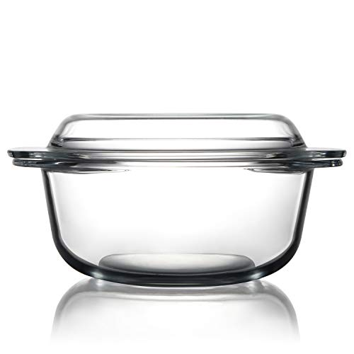 Clear Round Glass Casserole Dish With Lid Glass Bakeware Ovenware Easy Grab Glass Baking Dish,Microwave, Oven, Freezer, and Dishwasher Safe (2.5L)