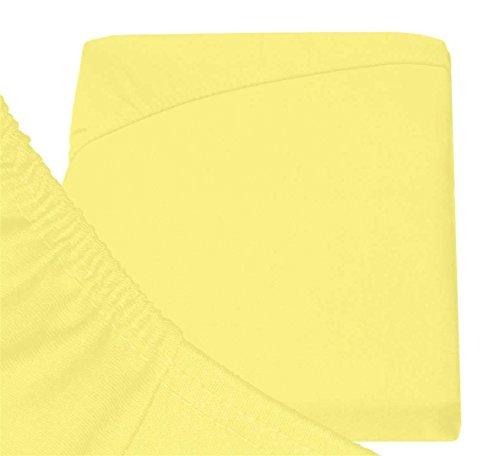 #11 Double Jersey Jersey Spannbettlaken, Spannbetttuch, Bettlaken, 160x200x30 cm, Gelb - 8