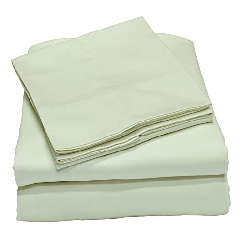 Callista 100% Cotton Sateen Sheet Set 600 Thread Count -Full Size, Wrinkle-Free, Fade, Stain Resistant, Hypoallergenic -4 Piece Set -1 Flat Sheet, 1 Fitted Sheet and 2 Pillowcase -White