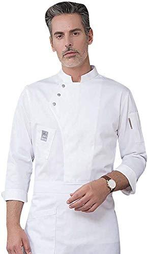 Unisex Herren und Damen Herbst Winter-Langarm Kochjacke Westliches Essen Restaurant Küche Hotels Uniform Berufsbekleidung,Weiß,XXXL
