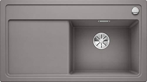 BLANCO 523907zenar 5S 5S Silgranit PuraDur con telecomando per scarico, con tagliere di legno piatto destro alumetallic, Alluminio Metallizzato