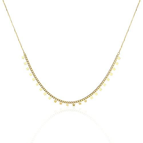 wangk Simple joyería de Acero de Titanio Estrella Colgante Cadena Collar de Mujeres Collar de Mujeres suéter Cadena Charla fría