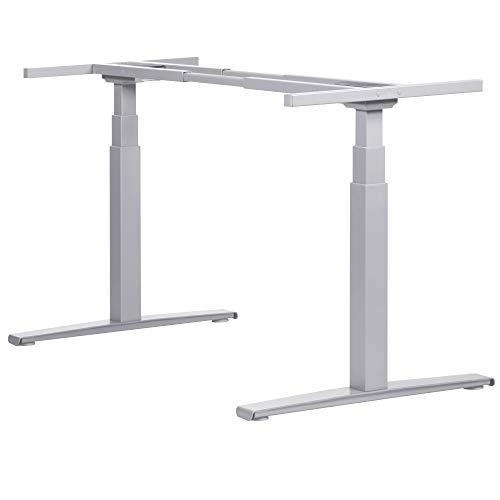 boho office® Basic Line - elektrisch stufenlos höhenverstellbarer Schreibtisch in Silber mit Memory-Funktion sowie einstellbaren Kollisionsschutz und Soft-Start/Stop