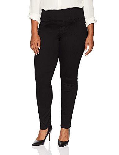 LEE Women's Plus Size Sculpting Slim Fit Skinny Leg Pull on Jean, black, 16W Medium