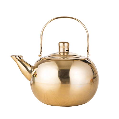 UPKOCH Stovetop Teapot Stainless Steel Thermal Teapot Kettle Hot Water Pot for Hotel Restaurant Kitchen Supplies (Golden, 1.5L)