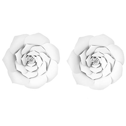 2pcs 12inch Paper Flower Backdrop Party Paper Flower Hanging Rose Flower Balls DIY Paper Handmade Craft for Wedding,Baby Shower,Birthday,Party Decorations,Home (2pcs, 12inch-White)