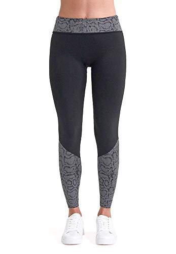 BeGood - Shaping Leggings für Damen Superslim mit flacher Baucheffekt, entwässernd, feuchtigkeitsspendend und Anti-cellulite mit Jacquard-Einsätzen mit Schlangenmuster