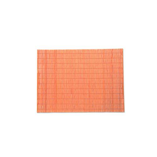Juego de 5 manteles individuales de bambú 45 x 30 cm | Indonesia | Lavables, antideslizantes, ecológicos, resistentes al agua y al calor (naranja)
