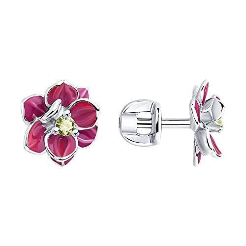 Mirkada - Pendientes de plata para mujer, con esmalte y circonitas, color rosa y amarillo