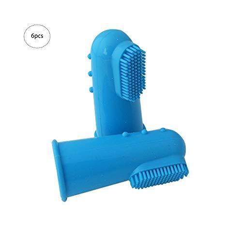 Farmer-W Tandenborstel voor huisdieren, 6 stuks, zachte siliconen tandenborstel voor huisdieren, reiniging van hondentanden, reiniging van kattentanden en tandverzorging voor honden en katten,  Rosa Roja