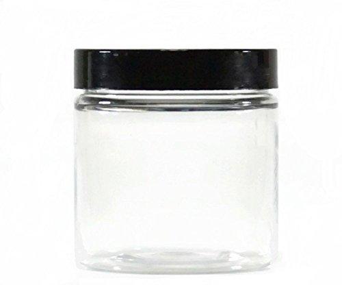 Premium Vials CRC870400-12 Clear Plastic Jar with Black Lid, 8 oz Capacity (Pack of 12)