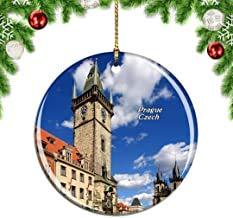 Kysd43Mill Tschechisches Altes Rathaus mit astronomischer Uhr Prager Weihnachtsbaum-Dekoration zum Aufhängen, Keramik, Weihnachtsdekoration, Weihnachts-Geschenke