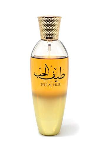 Perfume Teef Al Hub de Zaafaran 100ml Eau de Parfum Regalos Navidad Originales Mujer Attar árabe Oriental Oud Agua Regalo de Chica Mujer Attar Almizcle Halal NOTAS Rosa de Taif, Vainilla y Oud
