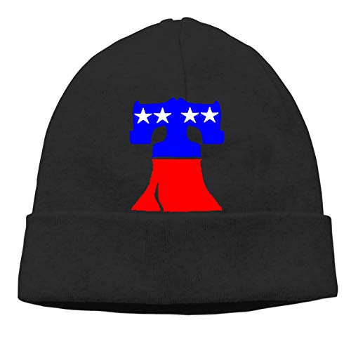 Liberty Bell American Flag Adult Hedging Cap Silhouette Beanie Hat Soft Winter and Activewear Watch Cap Black