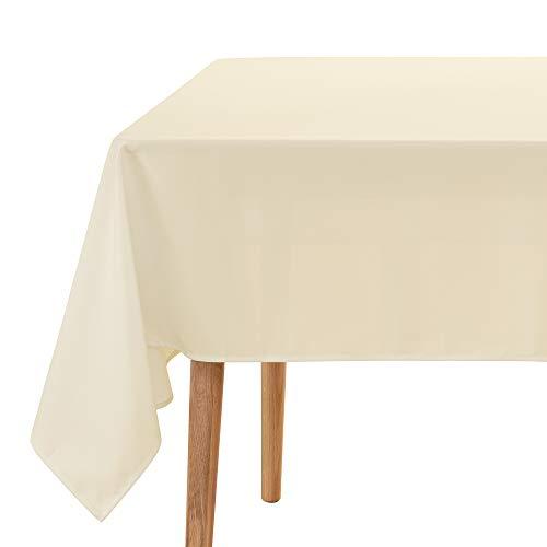 Amazon Brand – Umi Tischdecke Wasserabweisend Tischwäsche Lotuseffekt Tischtuch 130x220 cm Creme