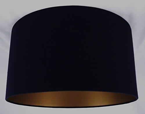 Tophouse Design Lampenschirm, handgefertigt, ca.40,6cm Durchmesser, Schwarz/Innenseite goldfarben