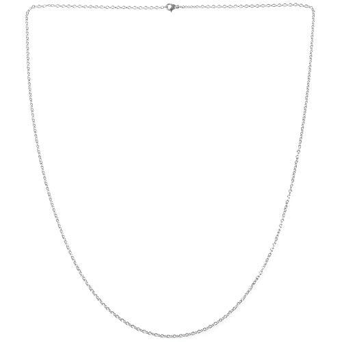 Perezy Cadena de Mujer de joyeria, O Collar de Acero Inoxidable, Plata - 2 mm de Ancho - 70 cm de Longitud