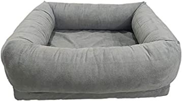 Mellifluous Medium Size Dog and Cat Pet Bed with Removable Cover, Grey