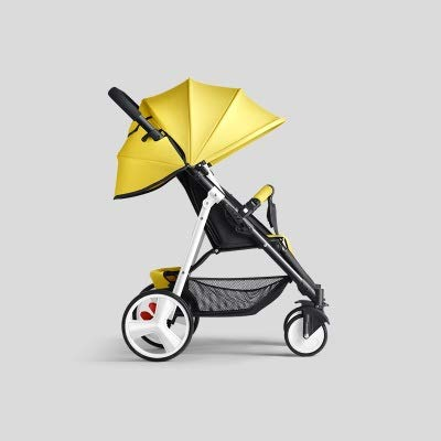 HUKN Cochecito de bebé Plegable Ligero 2 en 1 Puede Sentarse Puede mentir Puede en el Sistema de Viaje de avión Parabebe Children PRAM para recién Nacido (Color : Yellow and White)