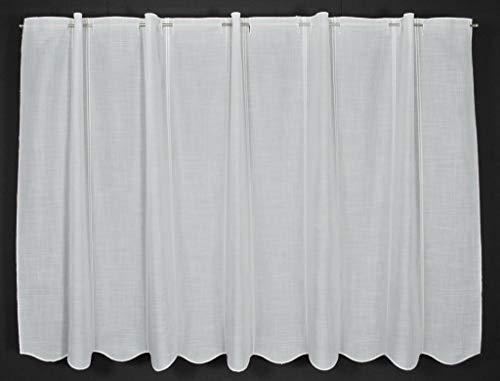 Scheibengardine Käseleinenoptik 90 cm hoch | Breite der Gardine durch gekaufte Menge in 16 cm Schritten wählbar (Anfertigung nach Maß) | Weiß | Vorhang Küche Wohnzimmer