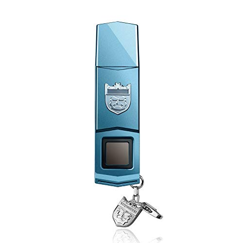 TOPMORE Phecda Fingerprint Recognition USB3.0 Flash Drive Fingerprint ID Security Flash Disk Biometric Fingerprint Reader Memory Stick (128GB, Blue & Silver)