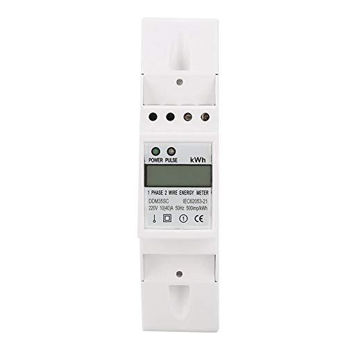 Medidor de energía de riel DIN, monofásico 2P LCD Din Rail KWH Watt Hour Energy Meter 10 (40) A 220V 230V 50Hz 60Hz DDM35SC Energy Meter