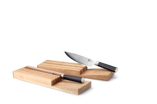 Continenta 30518 Messerblock für Schublade aus Gummibaumholz, Messerhalter, Schubladen Messerblock für 5 Messer, Größe: 39 x 11 x 3,5 cm (ohne Messer),Braun