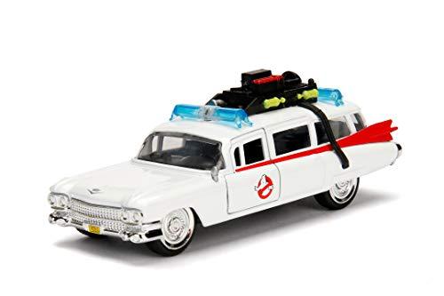 Jada Toys 253232000 Ghostbuster ECTO-1, Auto, Spielzeugauto aus Die-cast, Türen zum Öffnen Maßstab 1:32, weiß