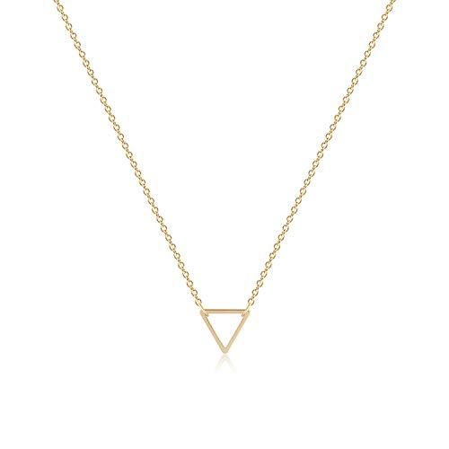 Fettero Triangle Necklace Gold Geometric Open Pendant Dainty Chain 14K Gold Plated Minimalist Simple Boho Hypoallergenic Jewelry Gift for Women Men