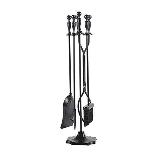 FEZBD Kaminwerkzeuge Set Feuerstelle Zubehör Halter Rustikale Zangen Shovel Pinsel Chimney Poker Kit Herd Dekor