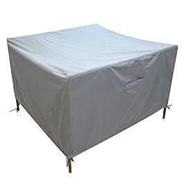 Fucnen Housse de protection carrée en rotin pour meubles de jardin – Imperméable – Gris – 420D Oxford – Résistante au…