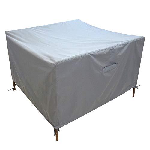 Rotting kub trädgårdsmöbler överdrag vattentät FUCNEN grå utomhus uteplats kvadrat möbler skydd skydd för picknick bänk bord stolar soffa 420D Oxford kraftigt skydd vindtät anti-UV 126 x 126 x 74 cm