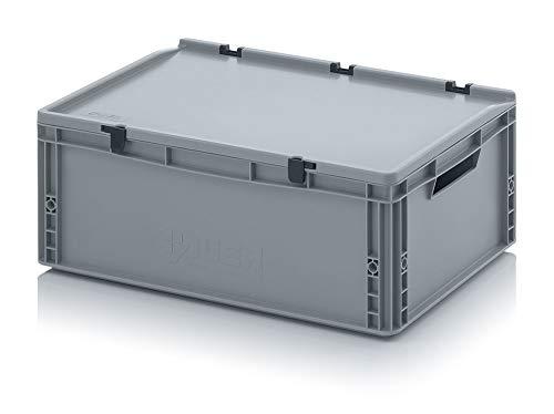 Auer ED 64/22 - Contenitore industriale con coperchio a cerniera, 60 x 40 x 23,5 cm, con maniglie aperte