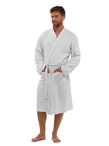 Homme 100% Coton Robe De Chambre Peignoir, Doux gaufré Duvet Vêtement de loisirs, HT561 By Sockstack - Blanc, Homme, L/XL