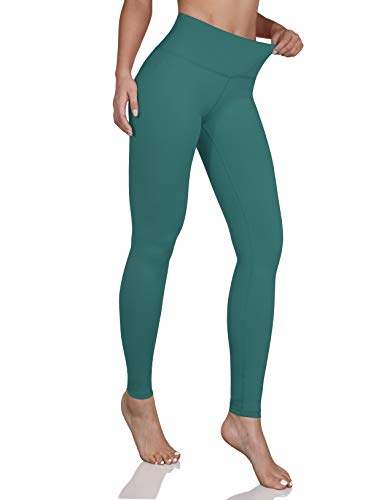 ODODOS Women's Mid Waisted Yoga Pants with Pocket, Full-Length Yoga Leggings Workout Pants with Pockets, Teal, X-Large