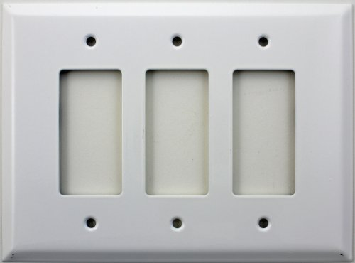 Stamped Steel Over Sized Jumbo Smooth White 3 Gang GFI/Rocker Switch Plate