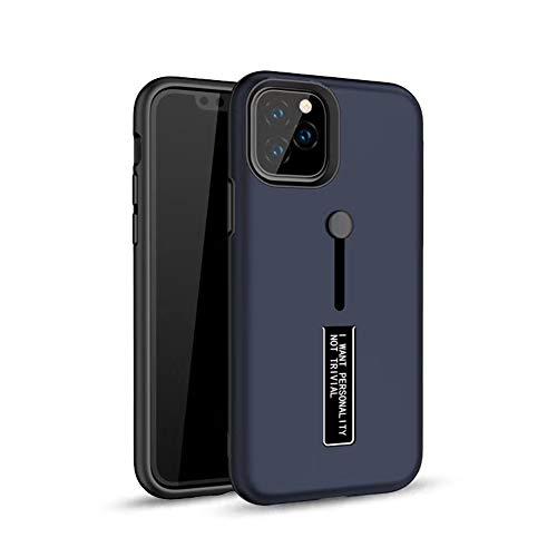Funda compatible con Apple iPhone 11 Pro, carcasa fina de silicona, escondida, soporte de metal y soporte para los dedos, carcasa rígida para iPhone 11 Pro, color azul