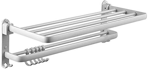 QOHG Estante de baño Autoadhesivo con Barra de Toalla y Gancho, Aluminio Engrosado, Toalla de Doble Pared Plegable Plataforma de Plata de 40 cm