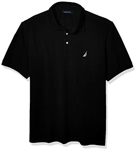 Nautica Men's Short Sleeve Solid Stretch Cotton Pique Polo Shirt, True Black, X-Large